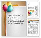 Food & Beverage: Happy Birthday Balloons Word Template #14119