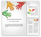 Art & Entertainment: Painted Hands Word Template #14149