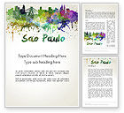 Art & Entertainment: Sao Paulo Skyline in Watercolor Splatters Word Template #14198