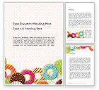 Food & Beverage: Colorful Donuts Word Template #14245