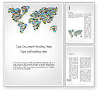 Global: Photos Placed as World Map Shape Word Template #14246