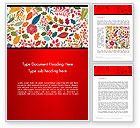 Nature & Environment: Colorful Leaf and Berry Pattern Word Template #14270