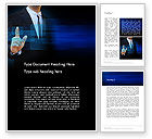 Business Concepts: Businessman Pressing Virtual Buttons Word Template #14283