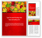 Holiday/Special Occasion: Red and Yellow Autumn Leaves Word Templae #14287