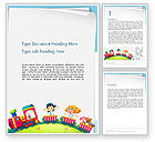 Education & Training: Children on the Train Illustration Word Template #14334