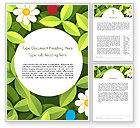 Nature & Environment: Green Leaf with Flowers and Butterflies Word Template #14344