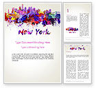 Art & Entertainment: New York Skyline in Watercolor Splatters Word Template #14368