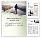 People: Teenager Walking Away Alone on The Road Word Template #14407