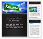 Business Concepts: Success Green Waymark Word Template #14423
