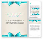 Holiday/Special Occasion: Blue Ribbons and Bows Frame Word Template #14428