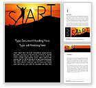 Careers/Industry: Start Concept on Sunset Silhouette Word Template #14434
