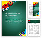 Education & Training: Supplies and Apple on Chalkboard Word Template #14490