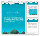 Nature & Environment: Mountains and Clouds Paper Art Style Word Template #14492