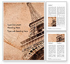 Art & Entertainment: Eiffel Tower Vintage Postcard Style Word Template #14556