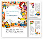 Education & Training: Kids and Toys Drawing Style Background Word Template #14608