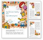 Education & Training: Modèle Word de enfants et jouets dessinant un style de fond #14608
