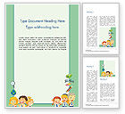 Education & Training: Frame with Children in School Uniform Word Template #14658