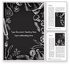 Food & Beverage: Food Doodles on Chalkboard Word Template #14676