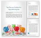 Financial/Accounting: Colorful Piggy Banks Word Template #14727