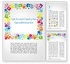 Religious/Spiritual: Plantilla de Word - marco hecho de huellas de colores #14733