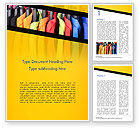 Careers/Industry: Row of Colorful Shirts in Store Word Template #14737