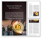 Technology, Science & Computers: Businessman Control with Bitcoin Technology Word Template #14738