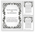 Abstract/Textures: Floral Black and White Border Word Template #14745