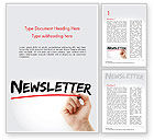 3D: A Hand Writing Newsletter with Marker Word Template #14800