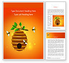 Food & Beverage: Beehive and Bees Illustration Word Template #14830