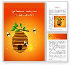 Food & Beverage: Bijenkorf En Bijen Illustratie Word Template #14830
