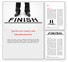 3D: Businessman Standing on Finish Line Word Template #14841