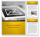 Telecommunication: Email Icon on Smartphone Word Template #14849
