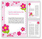 Holiday/Special Occasion: Cute Flowers Frame Word Template #14866