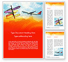 Careers/Industry: Directional Cities And Airplane in The Sky Word Template #14888