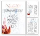 Technology, Science & Computers: Een Hand Wat Betreft Abstracte Gloeilamp Gemaakt Van Versnellingen Word Template #14895