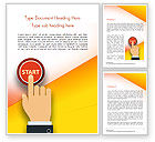 Business Concepts: Hand Pressing Red Start Button Word Template #14983