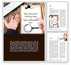 Business Concepts: Notebook with Magnifying Glass on Wooden Workplace Word Template #14995