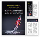 Technology, Science & Computers: Red Rocket Launching Word Template #15001