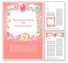 Holiday/Special Occasion: Cute Girl Birthday Background Word Template #15016