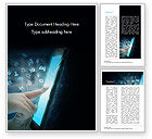 Business Concepts: Hands Touching Tablet with Technology Icons Word Template #15019
