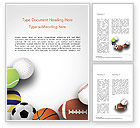 Sports: Verschillende Sportballen Word Template #15023