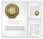 Technology, Science & Computers: Plantilla de Word - moneda de oro con signo de bitcoin #15029