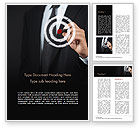 Business Concepts: Businessman Pressing on Target Goal Word Template #15034