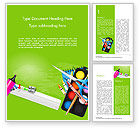 Education & Training: School Supplies on Green Background Word Template #15044