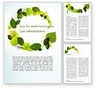 Nature & Environment: Green Leaves Circle Word Template #15127