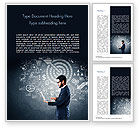 Business Concepts: Man at the Blackboard with Business Icons Word Template #15159
