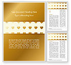 Holiday/Special Occasion: Background of Golden Hearts Word Template #15180