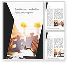Business Concepts: Woman Joining Two Jigsaw Puzzle Pieces Word Template #15199