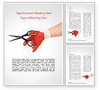 Careers/Industry: Hand In Glove Holding Scissors Word Template #15203