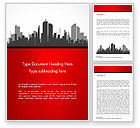 Construction: Silhouette of the City in Gray Shades Word Template #15220